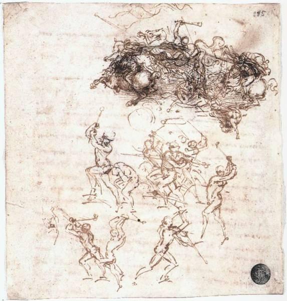 Leonardo da Vinci Study of battles on horseback and on foot